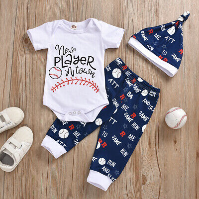 Baby Boys Baseball Uniform Short Sleeve Hat Sports Outfits Tops Trouser Suits UK • 12.05£