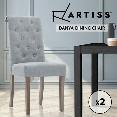 AU186.95 • Buy Artiss 2x Dining Chairs French Provincial Fabric High Roll Back Wood Light Grey