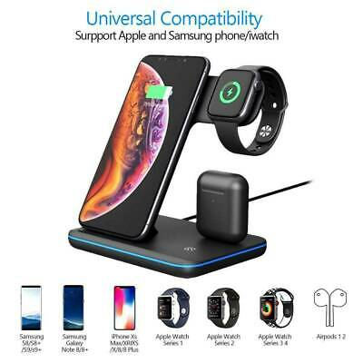 3 In 1 Wireless Charger Dock Charging Station For IWatch IPhone12 11 Pro Max XS • 18.99£