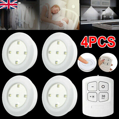 4X Kitchen LED Cabinet Lights Under Cupboard Night Lamp Dimmable Remote Control • 11.99£