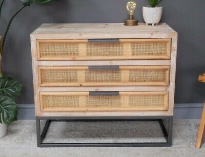 Industrial Vintage Style Rustic Chest Of Drawers Rattan Wicker & Fir Wood • 189.99£