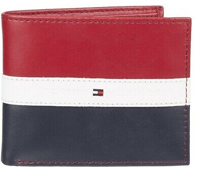 Tommy Hilfiger Men's Leather Americana Stripe RED/WHITE/BLUE Passcase Wallet  • 8.50£