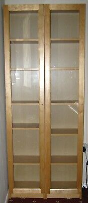 2 Ikea Billy Bookcases With Glass Doors & Shelves • 75£