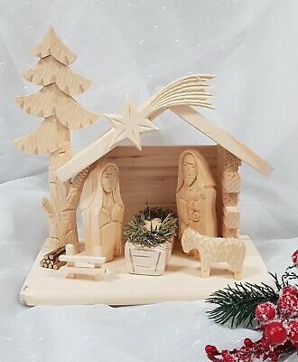 Wooden Hand Made Nativity Christmas Scene Hand Carved • 39.99£