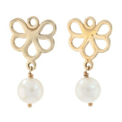 Pandora Fan Earring Charms - 14k Gold White Pearls NEW Authentic 250427P Retd • 161.29£