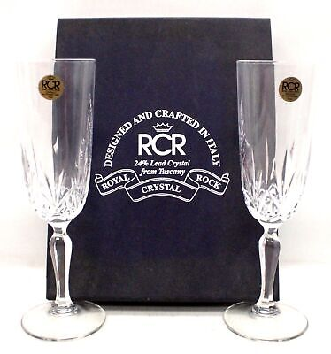 Pair Of ROYAL CRYSTAL ROCK RCR 24% Lead Crystal CHAMPAGNE FLUTES Glasses - P13 • 4.99£