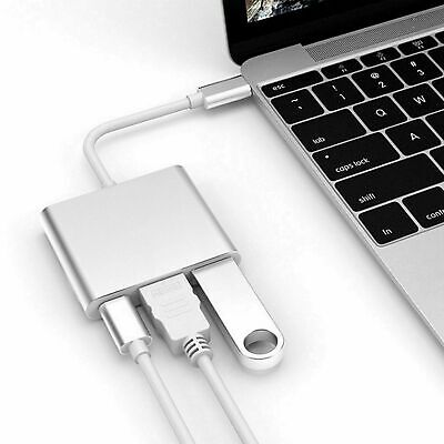 AU13.99 • Buy 3 In 1 Type C To USB-C HDMI Hub USB 3.0 Adapter Converter Cable For MacBook Pro
