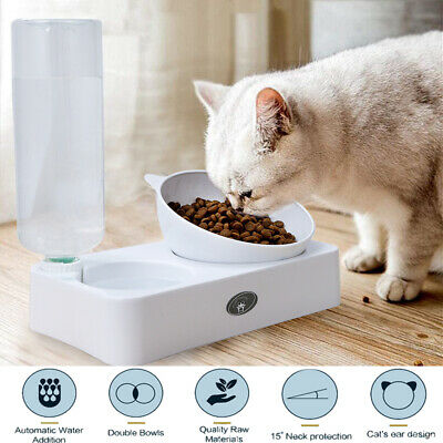 Automatic Pet Feeder Cat Dog Food Dispenser&Water Fountain Drinker Bowl Dish • 11.95£