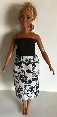 Black & White Strapless Dress - To Fit Curvy Fashionista Barbie Size Doll (#142) • 1.99£