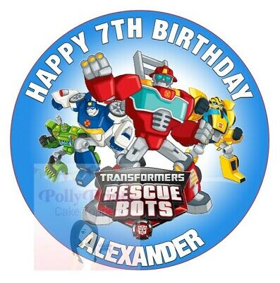 Rescue Bots Cake Topper Round Personalised Transformers Edible Icing Decoration • 5.99£