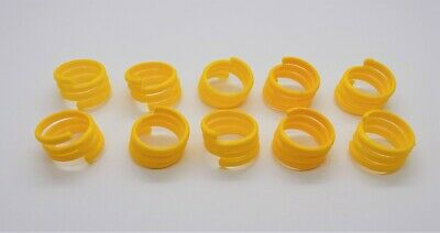 £4.99 • Buy 10 X 16mm Yellow Re-Usable Poultry Spiral Leg Rings Hen Goose Chicken Duck