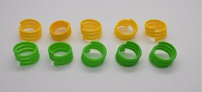 10 X 16mm Yellow & Green Re-Usable Poultry Spiral Leg Rings Hen Chicken Duck  • 4.99£