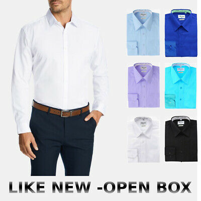 $10.79 • Buy Open Box Berlioni Italy Men's Slim Fit Button Up  Solid French Dress Shirt