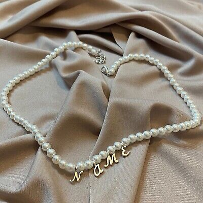 £18.60 • Buy Personalised Pearl Name Necklace Beaded Stranded Choker Statement Custom