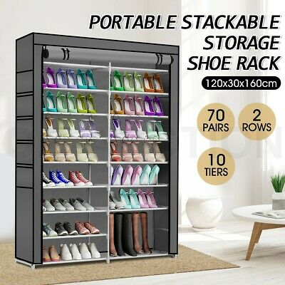 AU45.95 • Buy 70 Pairs 10 Tier Shoe Rack Cabinet Stackable Wardrobe Storage Organiser Stand