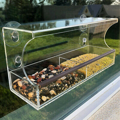 £13.95 • Buy Strong Window Bird Feeder Acrylic Table Hanging Feeder Station W / Dry Seed Tray