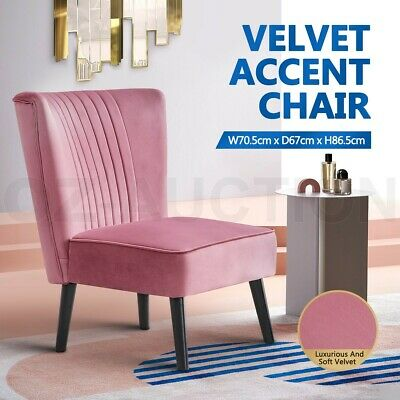 AU129.95 • Buy Armchair Lounge Dining Chair Accent Armchair Retro Single Sofa Velvet Seat Pink