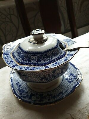 Burleigh Ware Burgess Leigh Small Tureen & Ladle Registered Design Premier Blue  • 19£