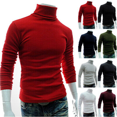 Mens Solid High Turtle Neck Pullover Jumper Sweater Undershirt Long Sleeve Tops • 12.15£