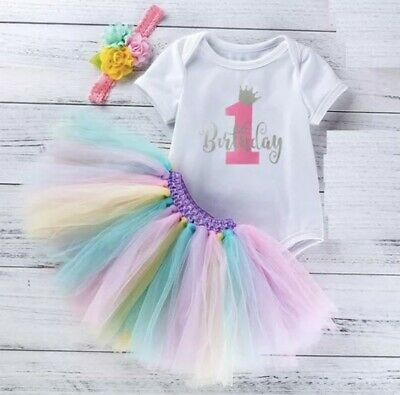 AU28.50 • Buy First Birthday /  Cake Smash 3 Piece Girls Outfit  Tutu, Romper And Headband..