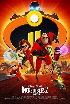 Disney Pixar The Incredibles 2 Movie Poster Iron On Tee T-Shirt Transfer A5 • 1.29£