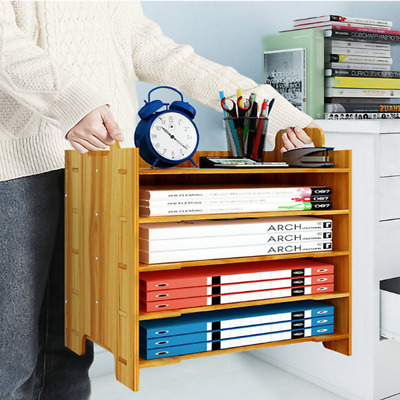 AU26.56 • Buy Wooden A4 File Book Organiser Storage Container Rack Tray Office Desk Tidy AU