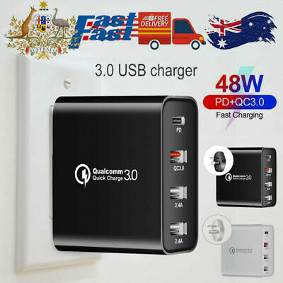 AU18.06 • Buy QC3.0 48W PD Fast Charging Charger Multi USB Type C Wall Adapter 4 Port AU Plug