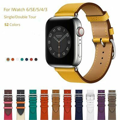AU33.45 • Buy Cow Leather Band For Apple Watch 6 SE 44mm 40mm Original Genuine Leather Strap