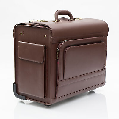 SALE Quindici Luxury Leather Pilot Briefcase Wheeled Business Bag NEW • 171£