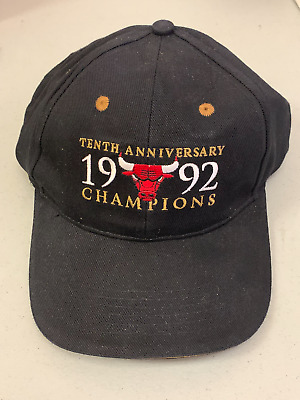 Chicago Bulls 1992 10th Anniversary Champions NBA Basketball Decorative Hat Cap • 14.15£