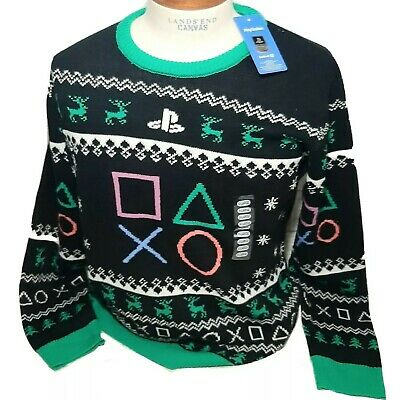 $29.95 • Buy Playstation Ugly Christmas Sweater Mens 2XL Black Holiday Party Gamer Logo New