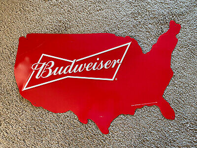 $ CDN31.64 • Buy Budweiser USA Metal Embossed Map Sign Minor Wear 27  X21