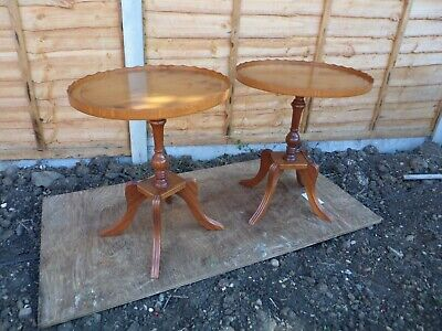 Pair Of Yew Tree Veneer Oval Drinks Tables (local Delivery Possible) • 36£