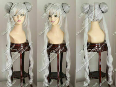 £18.38 • Buy Sailor Moon March Hare COS Wig New Long Silver Cosplay Anime Curly Wigs