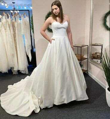 $ CDN143.19 • Buy Sweetheart Satin Wedding Dresses  With Pockets Strapless A Line Sweep Train Gown