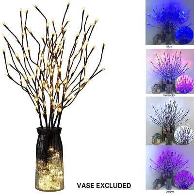 20 LED Branch Twig Lights Light Up Willow Branches Christmas Home Decors 77cm • 6.97£