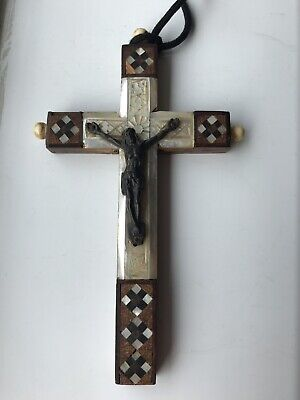 Antique Wood And Mother Of Pearl Jerusalem Prayer Cross • 20£