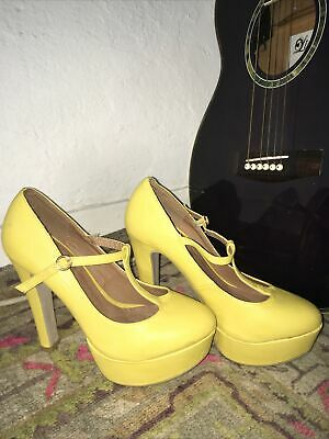 Odean Yellow Sunshine Platform Buckle Shoes Size 6 • 5.20£