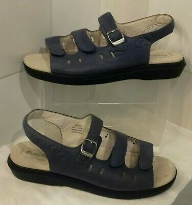 Propet Blue Comfort Flat Leather Sandals Uk Size 10 Us Size 12 Wide Fit Ee New • 19.99£