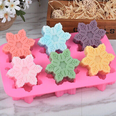 £4.79 • Buy Snowflake Silicone Mould X 6 Cell Christmas Cake Chocolate Candle Soap Decorate