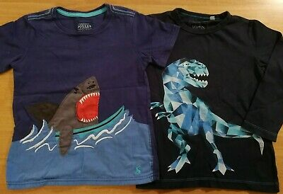 2X Boys 3-4 Tops. Joules Shark T Shirt And Blue Zoo T-Rex Long Sleeved Top VGUC • 11.99£