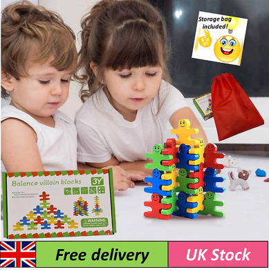 £6.99 • Buy Wooden Stacking Balance Building Blocks Human Shaped Puzzle Toy For Kids