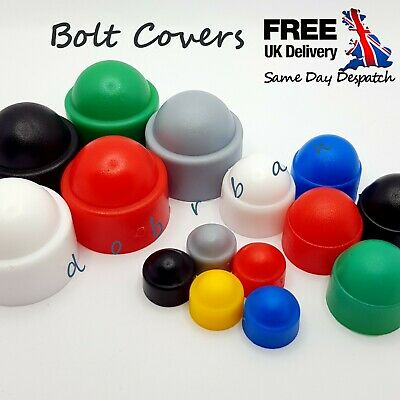 Coloured Plastic Nut & Bolt Cover Dome Cap Hexagon Head Hat Protection Covers UK • 2.27£