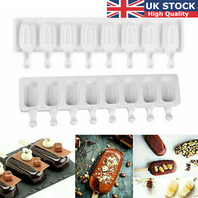 UK Silicone Ice Cream Cake Mold Ice Lolly Baking Frozen Mould Tray DIY Kitchen • 6.99£