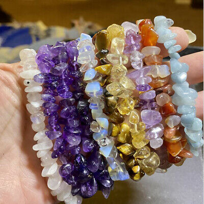 AU2.16 • Buy Natural Gemstone Crystal Chip Beads Stretchy Bracelet Healing Reiki Chakra
