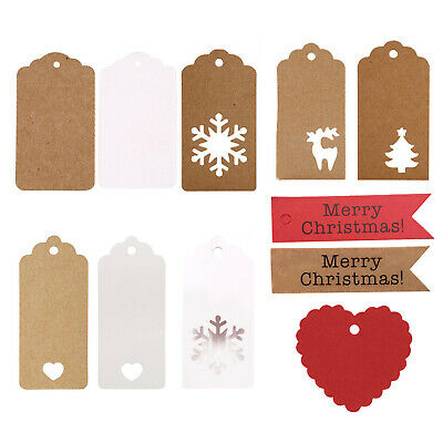 50/100 Christmas Kraft Paper Gift Tags Wedding Scallop Label Blank Luggage Rope • 2.11£