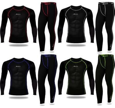 Mens Compression Gym Armour Base Layer Top Thermal Skin Fit Shirt Leggings Set • 19.99£