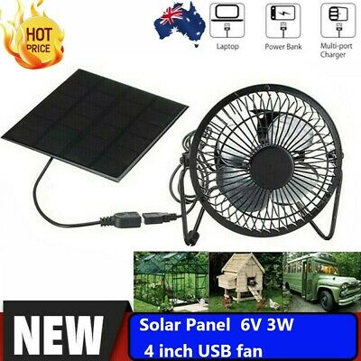 AU28.79 • Buy 3W 6V USB Solar Powered Panel Iron Fan Cooling Ventilation Fan For Chicken House