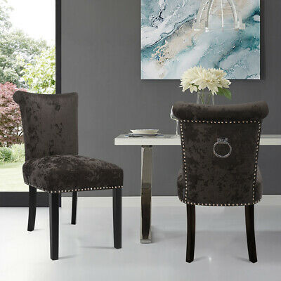 £139.95 • Buy 2PCS Crushed Velvet Brown Dining Chairs With Knocker/Ring Back Kitchen Furniture