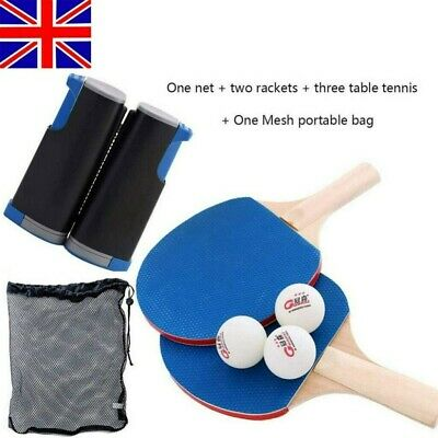 Table Tennis Kit Ping Pong Set Portable Retractable Net 2 Bats 3 Ping Pong Balls • 12.98£